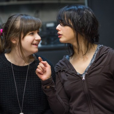 Rehearsal photos of The Chronicles of Kalki at Gate Theatre. Angela Terence and Amrita Acharia. Photo credit - Helen Murray (11)