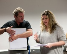 Alex Ferns and Abbey Wright in rehearsal for Laurie Slade's The Father at Trafalgar Studios. Credit Simon Annand.