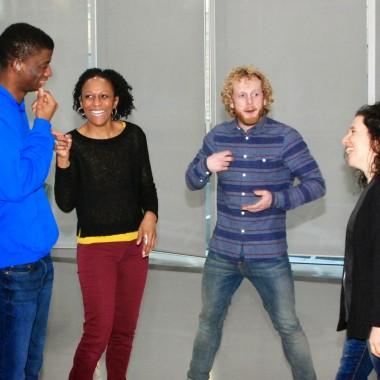 Jamal Ajala, Donna Mullings, Ian Street, Paula Garfield in rehearsals. Photo Helen Albert