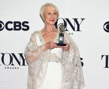 "NEW YORK, NY - JUNE 07:  Helen Mirren, winner of the award for Best Lead Actress in a Play for ""The Audience,"" poses in the press room during the 2015 Tony Awards at Radio City Music Hall on June 7, 2015 in New York City.  (Photo by Andrew H. Walker/Getty Images for Tony Awards Productions)"