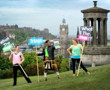 FREE FIRST USE  The Edinburgh Festival Fringe Society officially launched the 2015 Edinburgh Festival Fringe programme on Calton Hill overlooking the city of Edinburgh, Scotland. Thursday, 4 June 2015. The Edinburgh Festival Fringe starts on 7 August 2015 and runs until 31 August 2015. Tickets on sale at Edfringe.com  4 June 2015. Picture by JANE BARLOW  © Jane Barlow 2015 {all rights reserved} janebarlowphotography@gmail.com m: 07870 152324