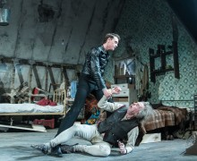 George MacKay (Mick), Timothy Spall (Davies) in The Caretaker at The Old Vic. Photo by Manuel Harlan
