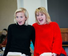 Sophie Melville and Katherine Pearce in Low Level Panic - Orange Tree Theatre - rehearsal photo by Helen Murray