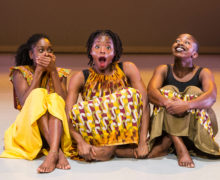 London, UK. 19.09.2016. Uchenna Dance presents 'The Head Wrap Diaries' at The Place. Photo shows: Picture shows: , Shelia Attah. Habibat Ajayi, Shanelle Clemenson. Photo - © Foteini Christofilopoulou.